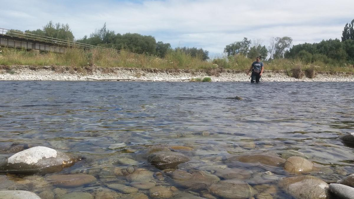 Tara McAllister doing field work, Ōpihi River